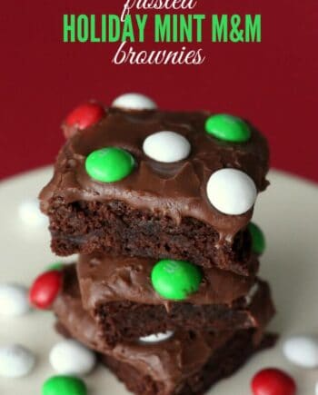 stack of frosted holiday mint M&M brownies