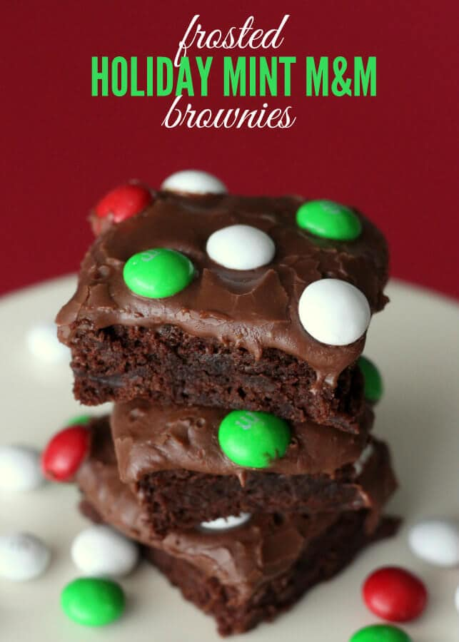 Frosted Holiday Mint M&M Brownies