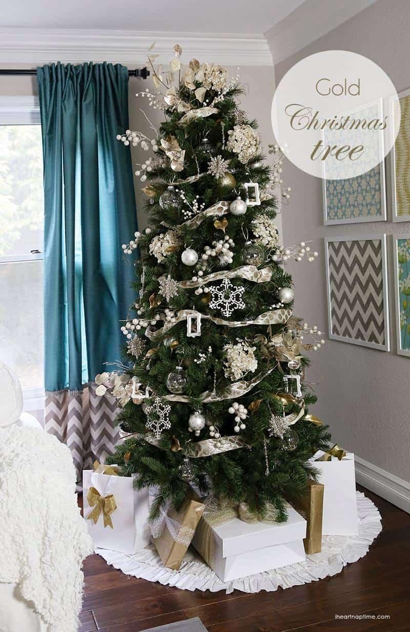 Gold Christmas tree on I Heart Nap Time