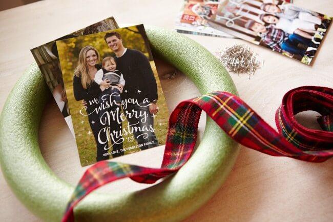 DIY holiday card wreath