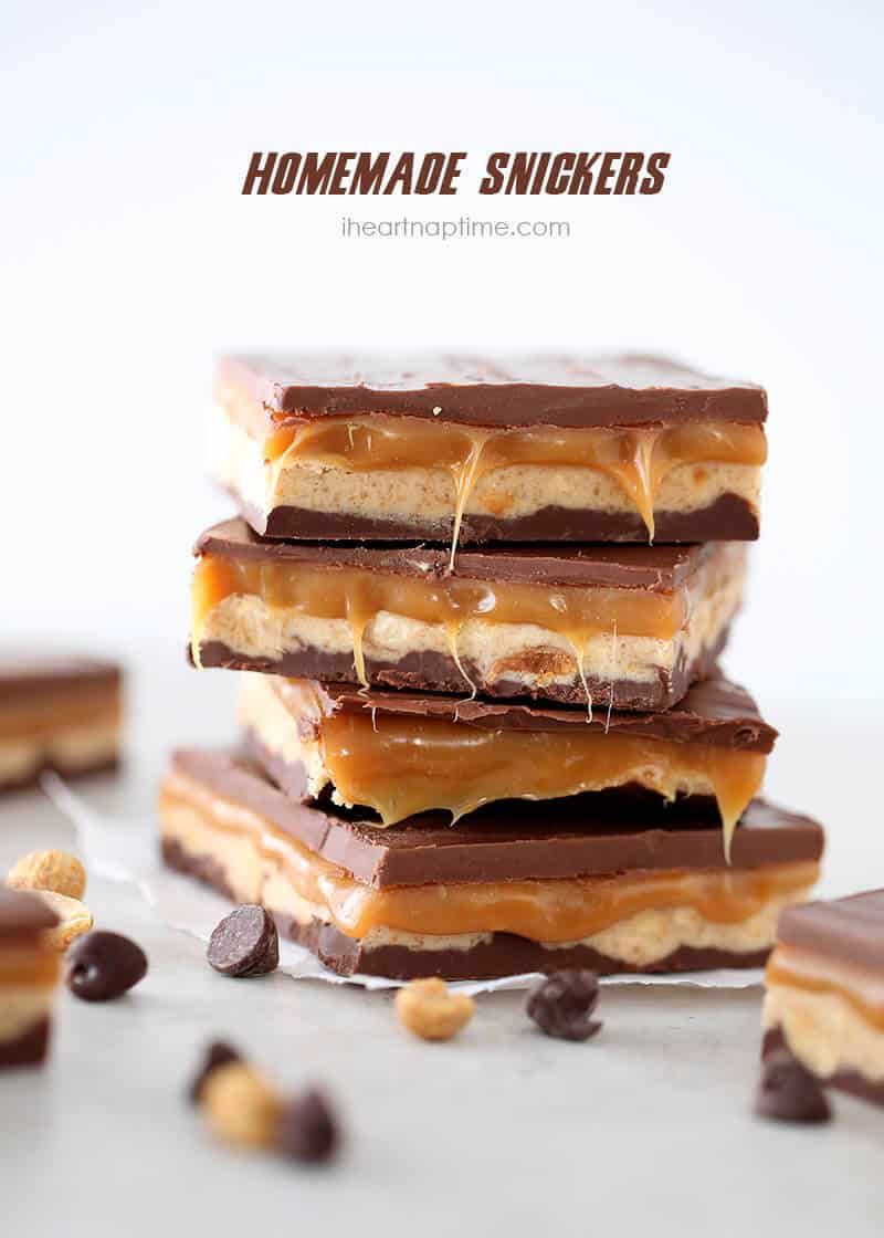 Homemade snickers on iheartnaptime.com ...tastes better than the real thing!