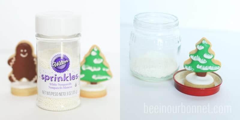 assembling sugar cookie snow globes