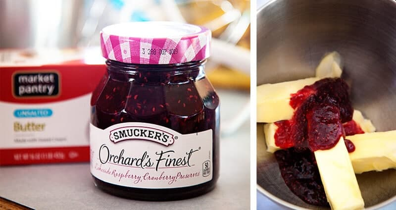 making sweet compound butter with raspberry preserves