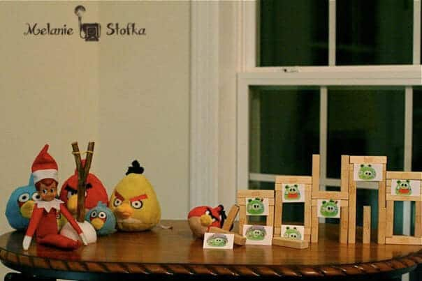 Elf playing with angry birds