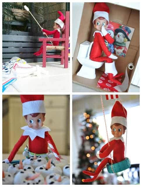 Elf on the shelf having fun