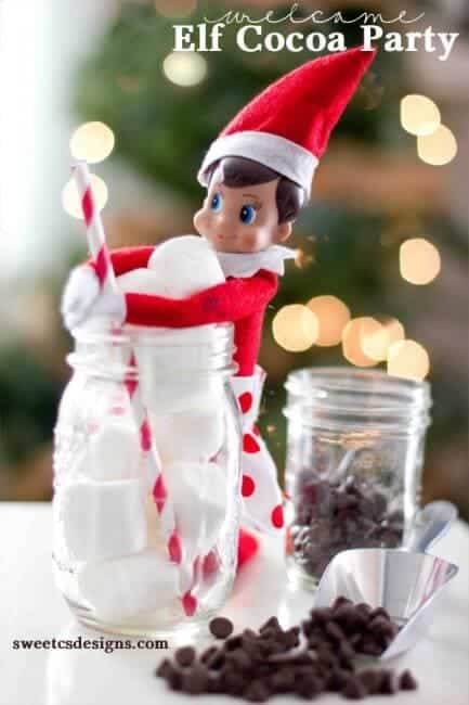Elf having a hot cocoa party