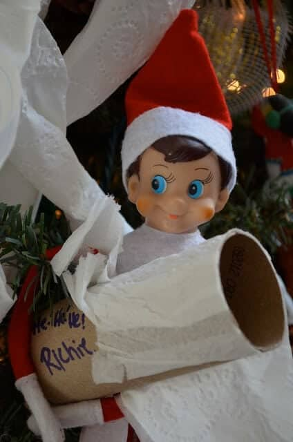 Elf toilet papering the tree