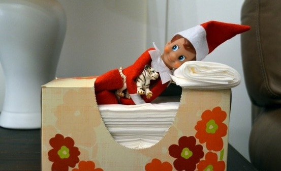 Elf taking a nap in the tissue box