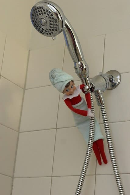 elf taking a shower