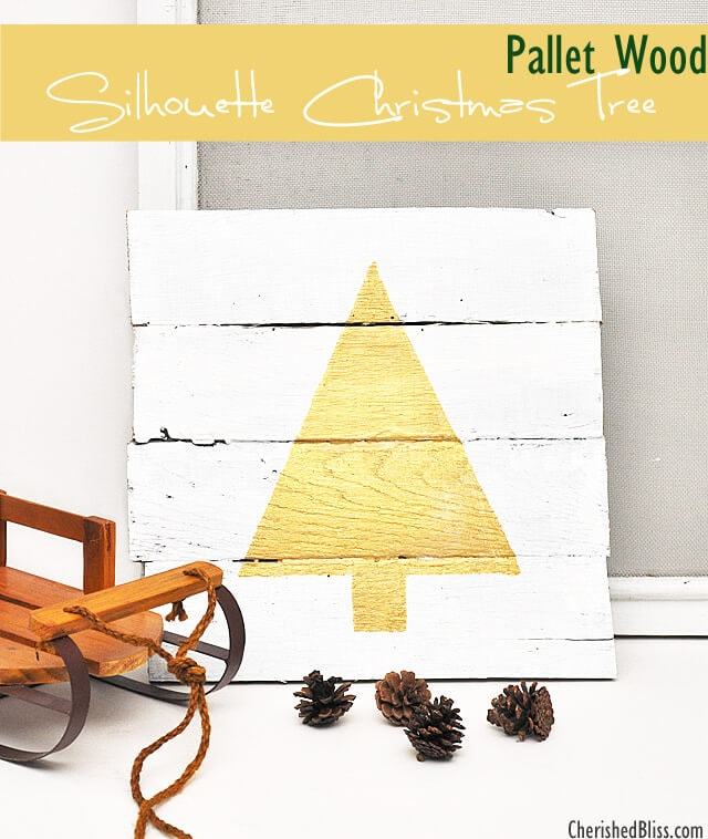 silhouette christmas tree pallet art