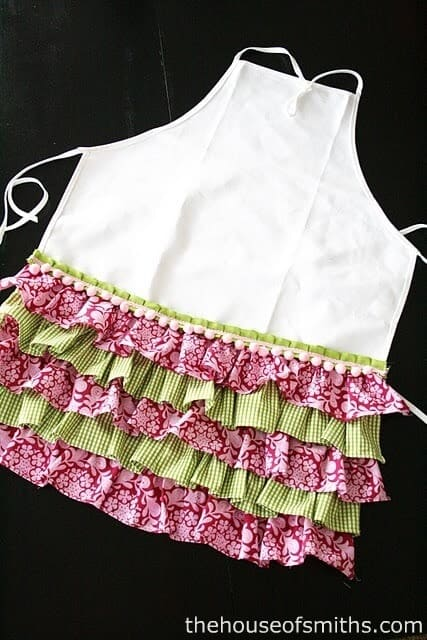 A close up of an apron with ruffles