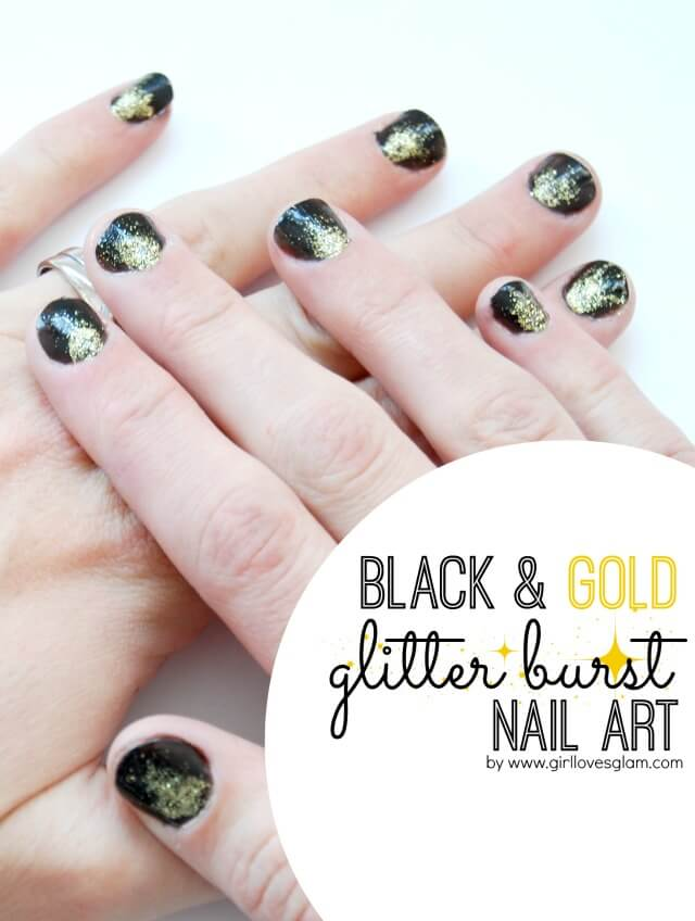 Black-and-Gold-Glitter-Burst-Nail-Art