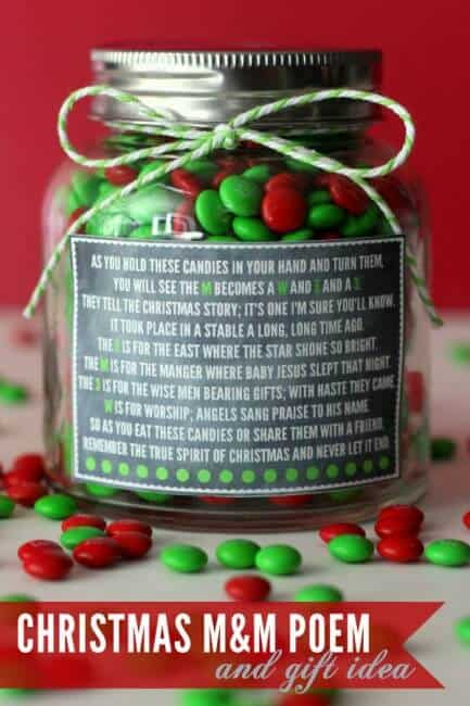christmas M&M\'s in a jar with a poem on it