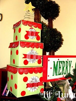 a red and green gift box tree