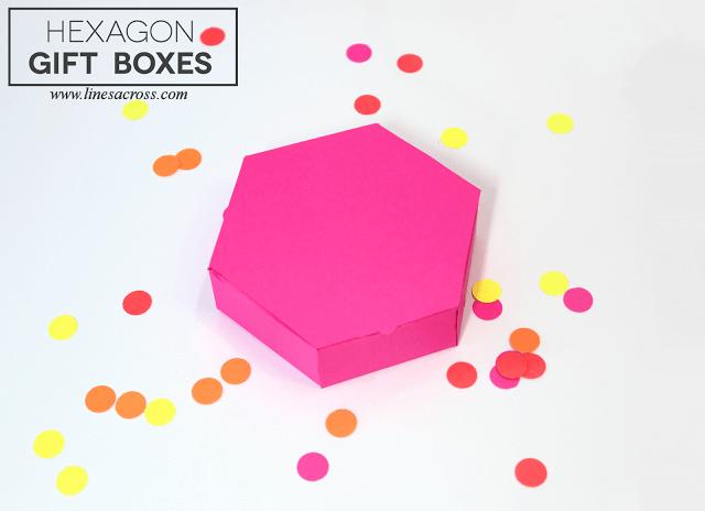 Hexagon Gift Boxes - Lines Across