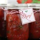 salsa in a mason jar with a christmas tag