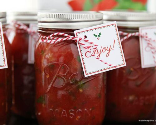 salsa in a mason jar with a christmas tag