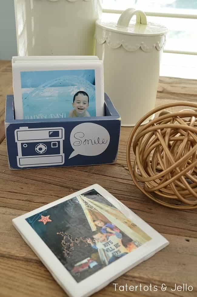 homemade coasters with photos on them