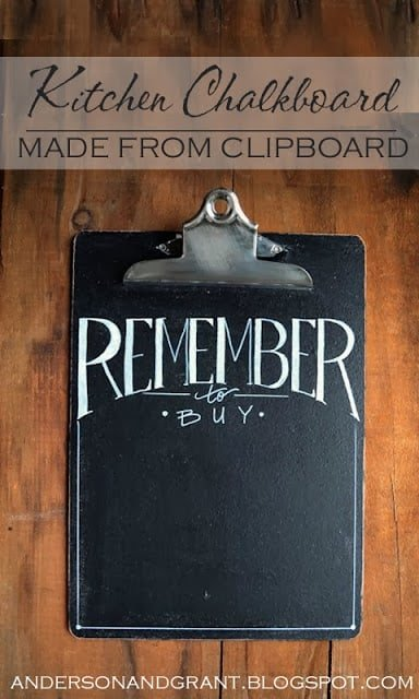 a kitchen chalkboard clipboard hanging on the wall