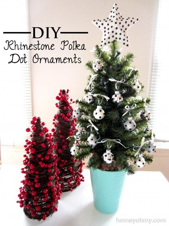 Mini-Christmas-tree-with-DIY-Rhinestone-Polka-Dot-Ornaments-e1385778380792