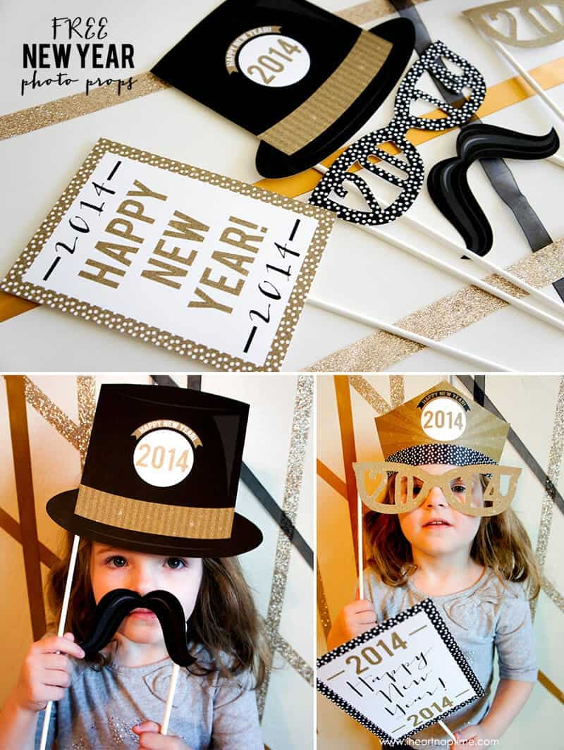 New Year Photo Props - celebrate the new year with friends and family with these adorable, free printables!