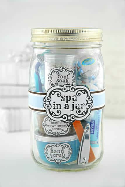 spa items in a mason jar with label
