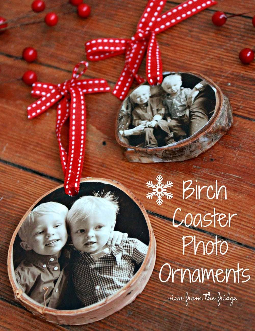 birch coaster photo ornament