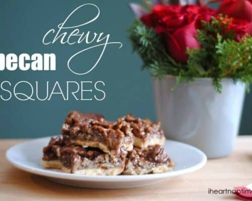 chewy pecan squares on plate