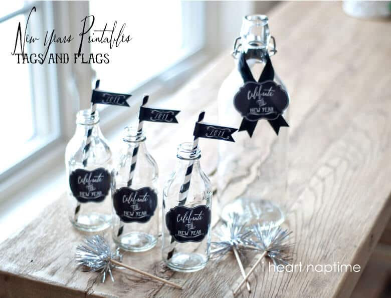 Free Chalkboard New Years Printable Tags and Flags