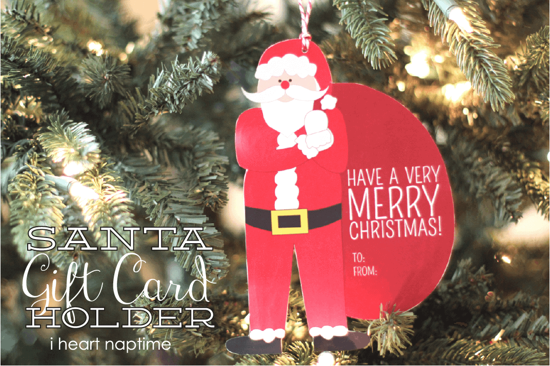 santa money or gift card holder free printable
