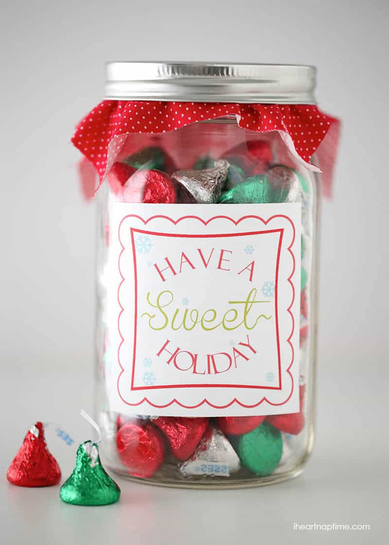"Have a ""sweet"" holiday free printable tag on iheartnaptime.net ... easy and cute gift idea!"