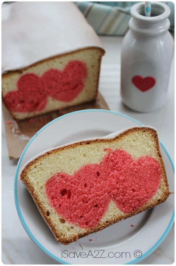 valentine\'s day pound cake on plate