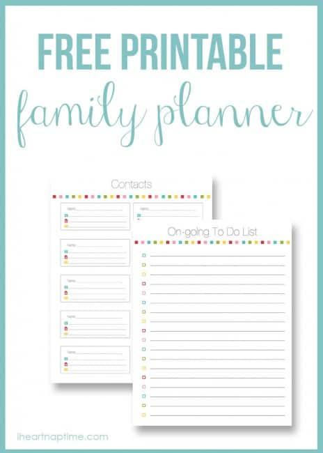 Family planner on I Heart Nap Time