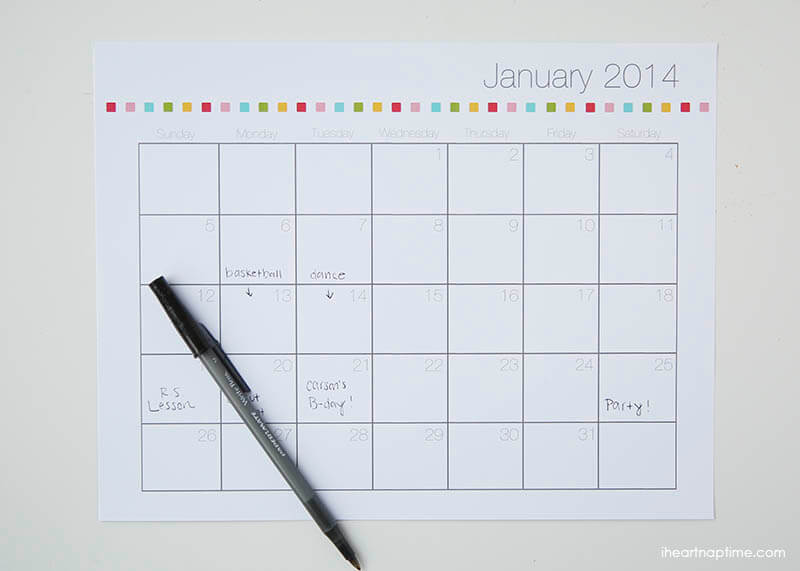 Free Printable 2014 Calendar - I Heart Nap Time