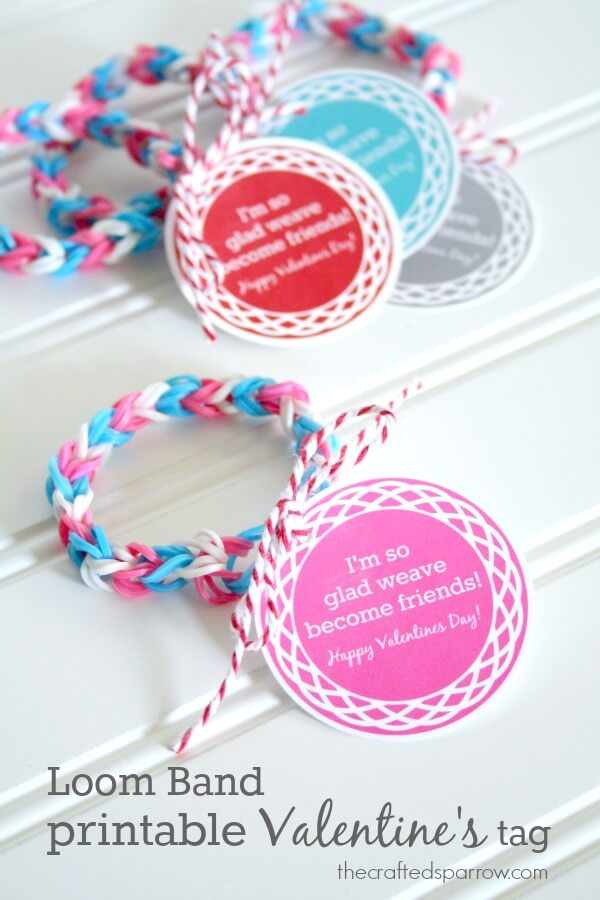 Loom Band Printable Round Valentines