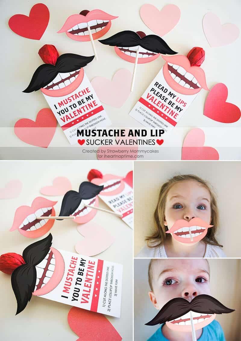 mustache and lip sucker valentines, Ideas