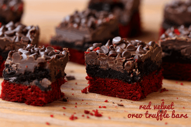 red velvet oreo truffle brownie bars on table