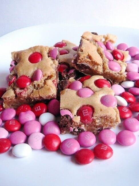 brown sugar blondies with m&ms on plate