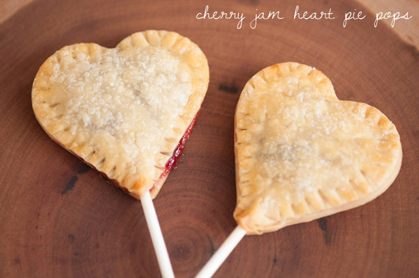 cherry jam heart pie pops on table