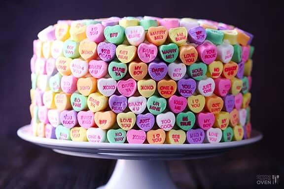 conversation heart cake on platter