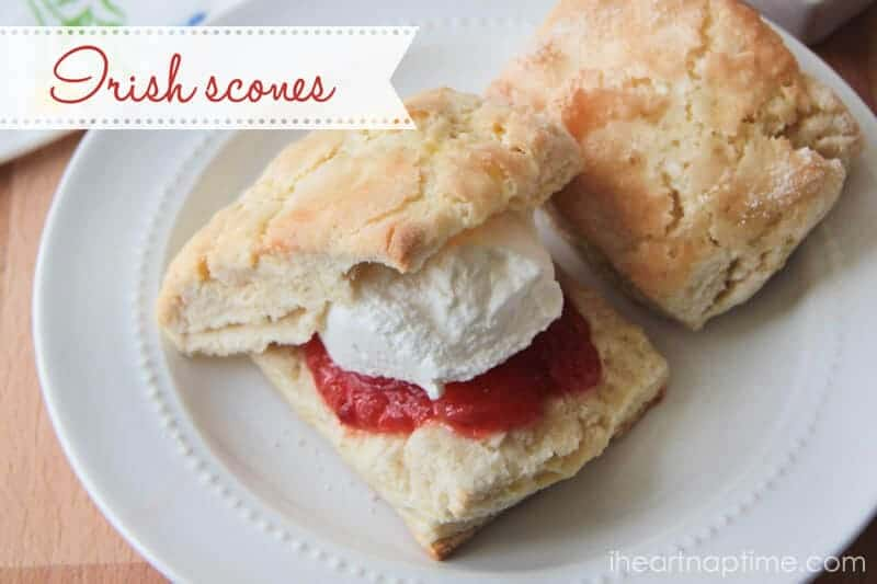 Homemade irish scones recipe via iheartnaptime.com ... these scones have the perfect sugary top and are super soft inside.