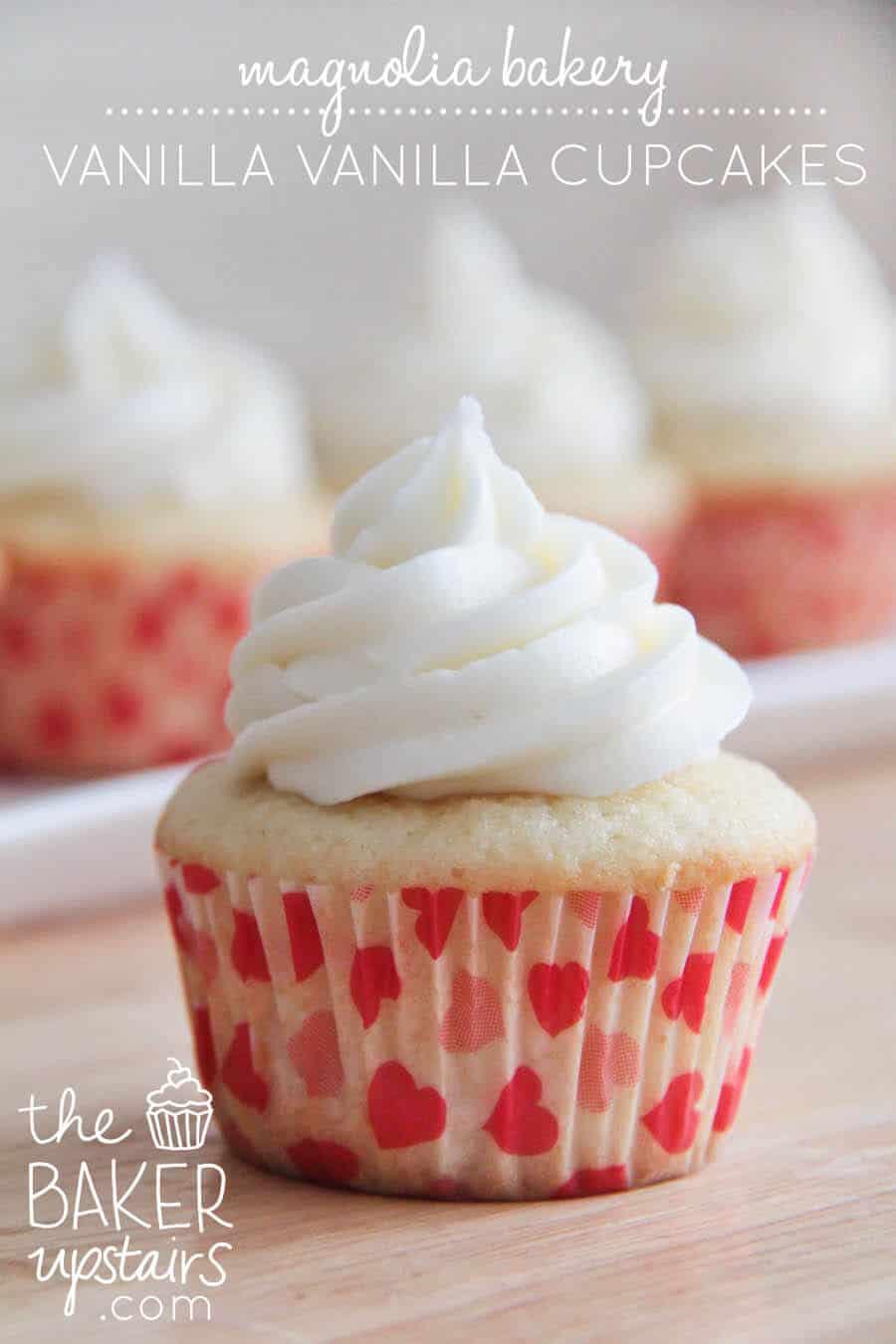 close up of Magnolia Bakery Vanilla Cupcakes