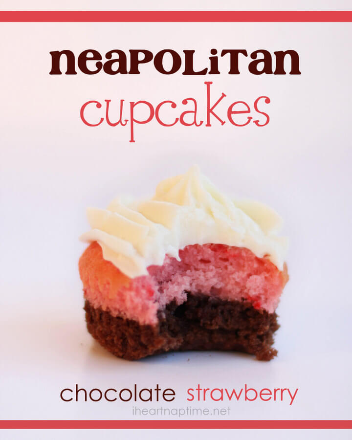 neapolitan cupcakes on table