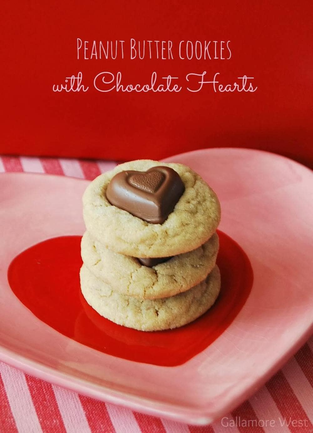 peanut butter cookies with chocolate hearts