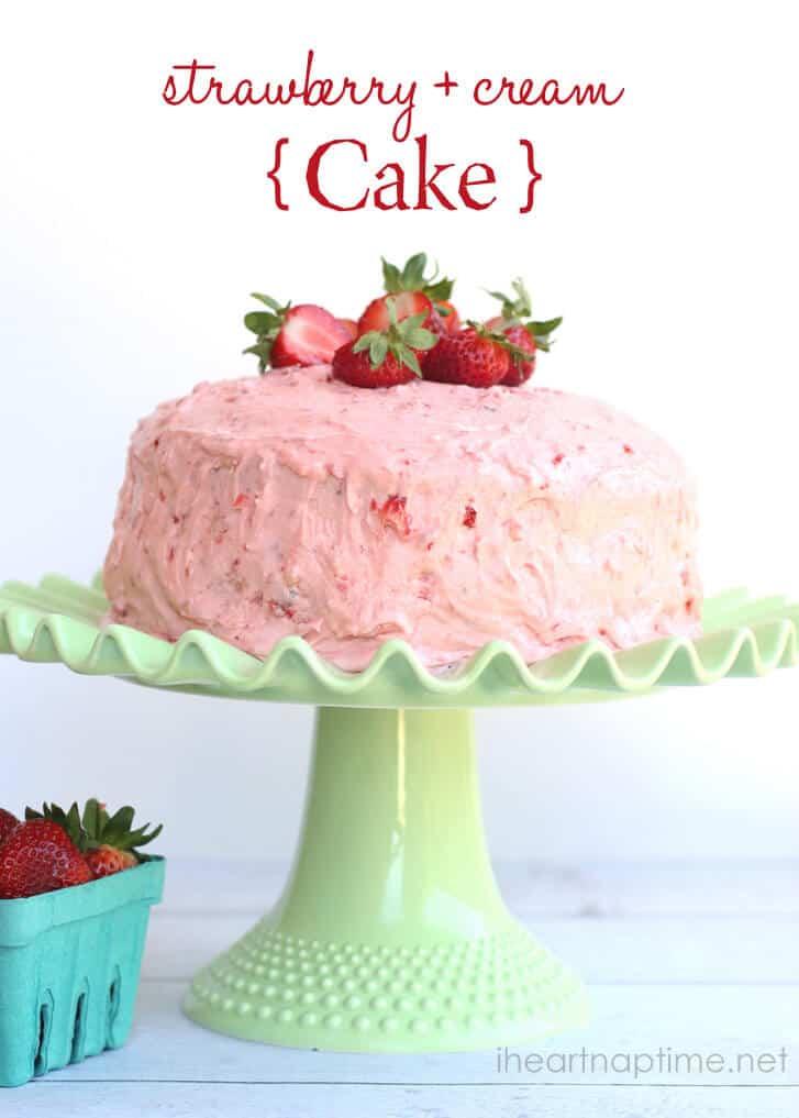 strawberry cake on platter