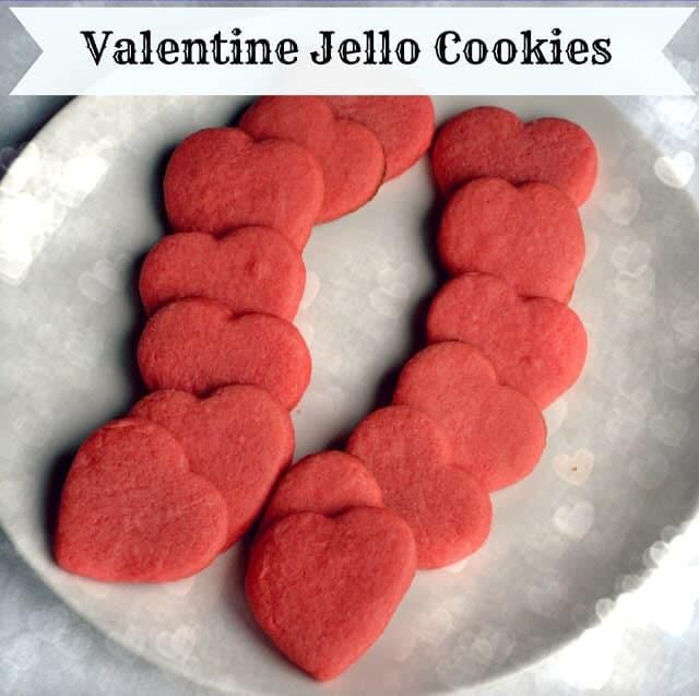 valentine jello cookies on plate