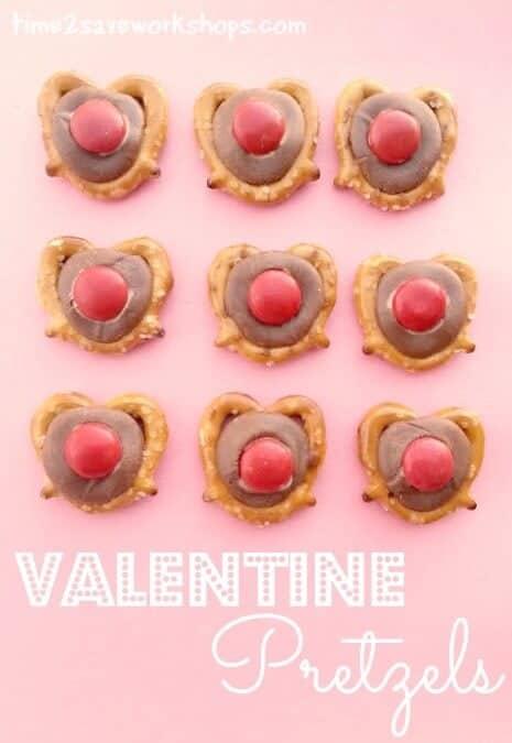 valentine pretzels on table