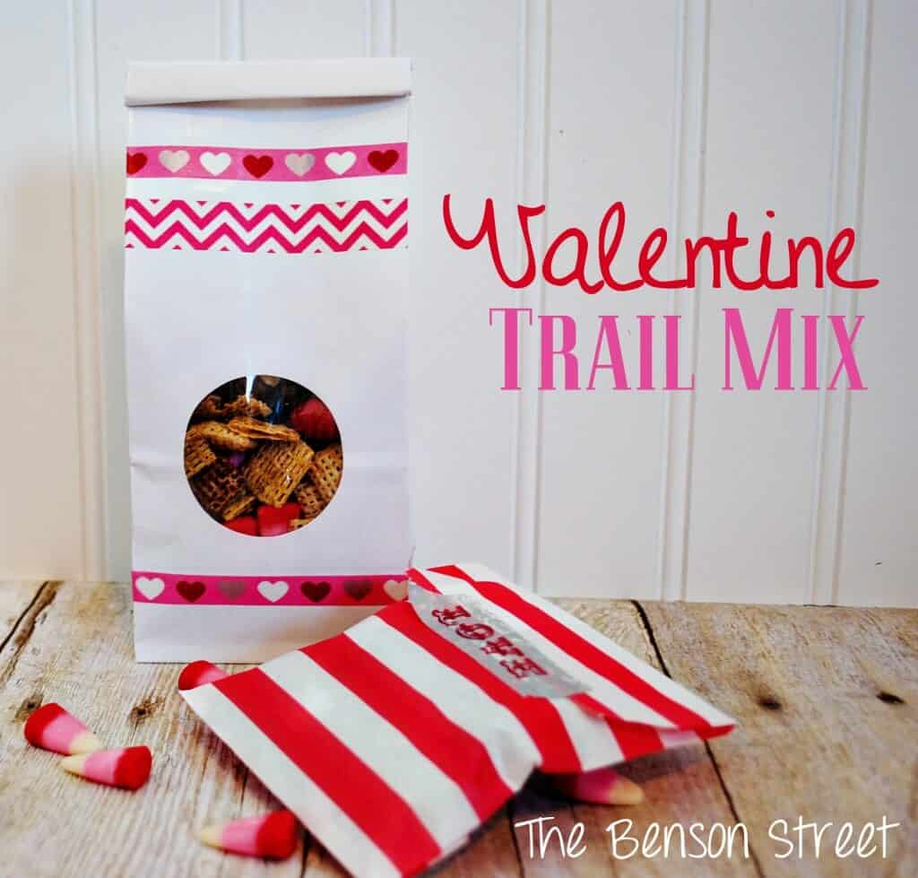 valentine trail mix on table