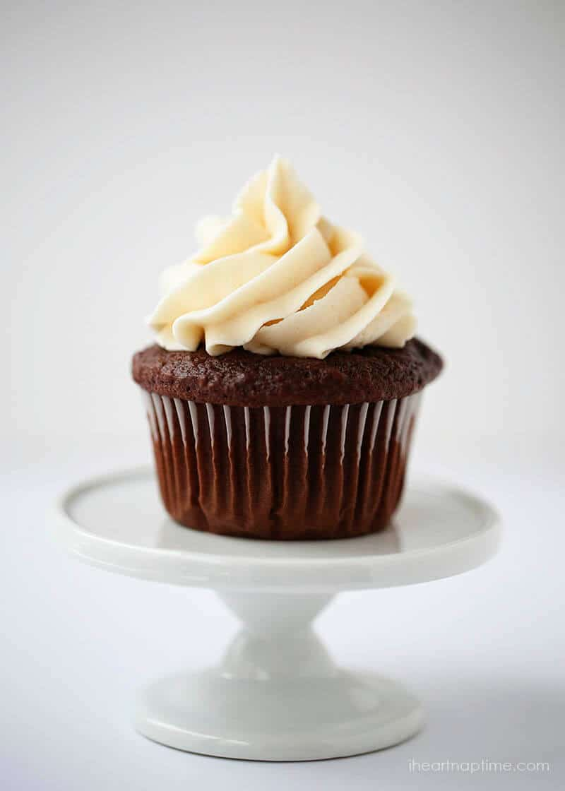 chocolate cupcake with classic buttercream on a cupcake stand