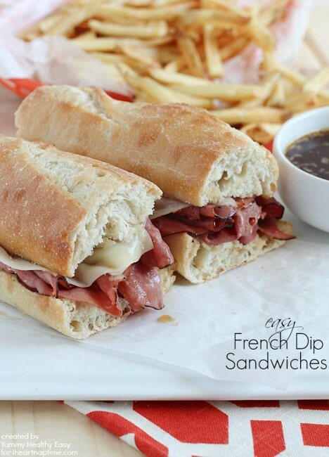 Delicious Easy French Dip Sandwiches - only a handful of ingredients and takes about 10 minutes from start to finish!